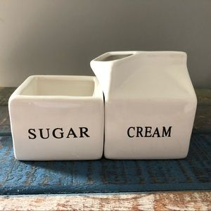 World Market sugar & cream carton glass